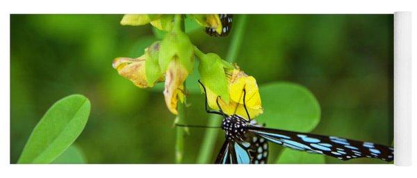 Blue Butterflies In The Green Garden Yoga Mat