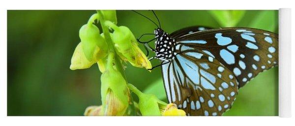 Blue Butterfly In The Green Garden Yoga Mat