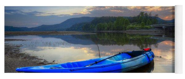 Blue Canoe At Sunset Yoga Mat
