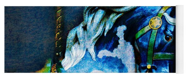 Blue Carousel Horse Yoga Mat