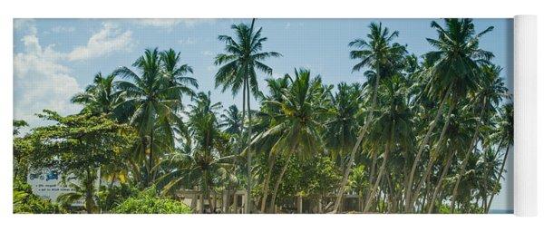 Blue Catamaran At A Beach With Coconut Palm Trees Yoga Mat