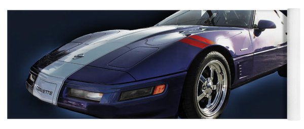 Blue Corvette Car Yoga Mat