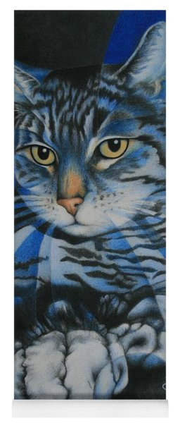 Blue Feline Geometry Yoga Mat