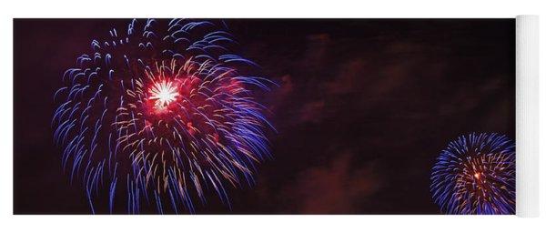Blue Fireworks Over Domino Sugar Yoga Mat