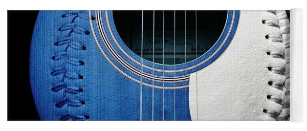 Blue Guitar Baseball White Laces Square Yoga Mat