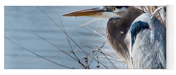 Blue Heron At Pond Yoga Mat