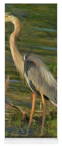 Blue Heron On The Bank Yoga Mat