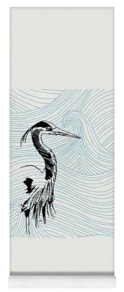 Blue Heron On Waves Yoga Mat