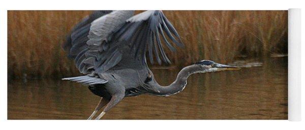 Blue Heron Takes Flight Yoga Mat