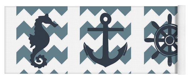 Blue Nautical Collage Yoga Mat