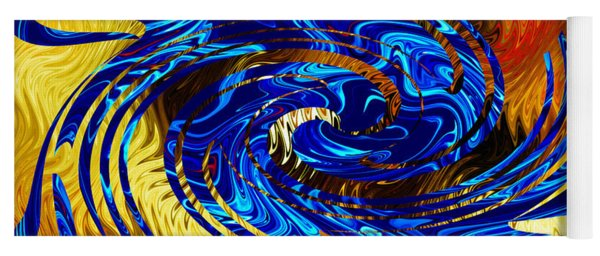 Blue On Fiery Gold - Abstract Yoga Mat