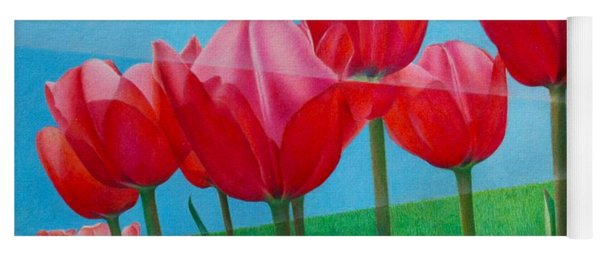 Blue Ray Tulips Yoga Mat