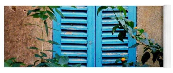 Blue Shuttered Window Yoga Mat