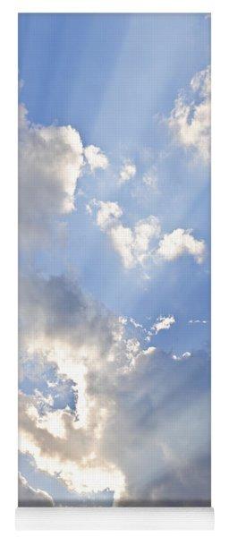 Blue Sky With Sun Rays Yoga Mat