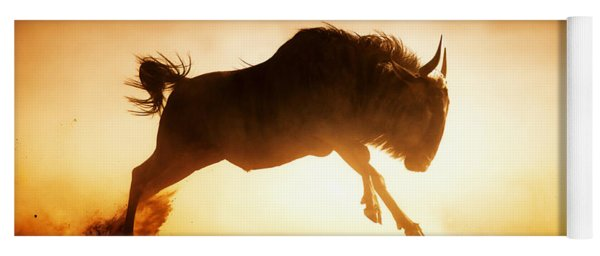Blue Wildebeest Running In Dust Yoga Mat