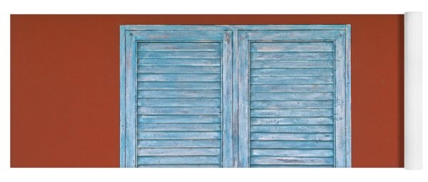 Blue Window Shutter Of Aruba Yoga Mat