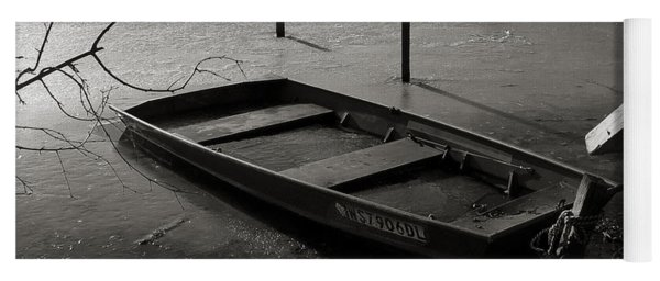 Boat In Ice - Lake Wingra - Madison - Wi Yoga Mat