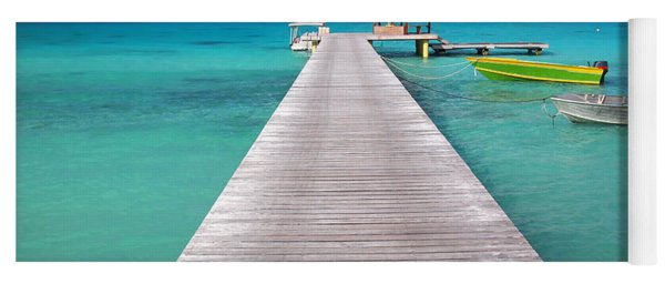 Boats At The Jetty In A Tropical Turquoise Lagoon Yoga Mat