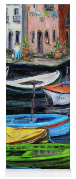 Boats In Front Of The Buildings II Yoga Mat