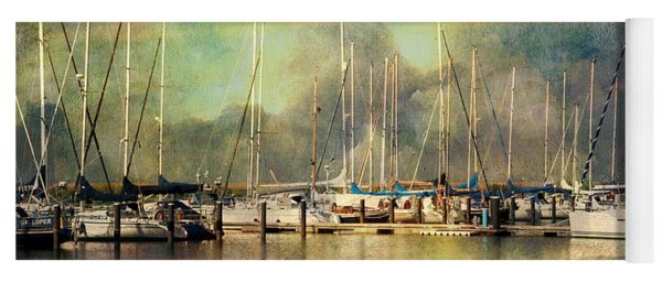 Boats In Harbour Yoga Mat