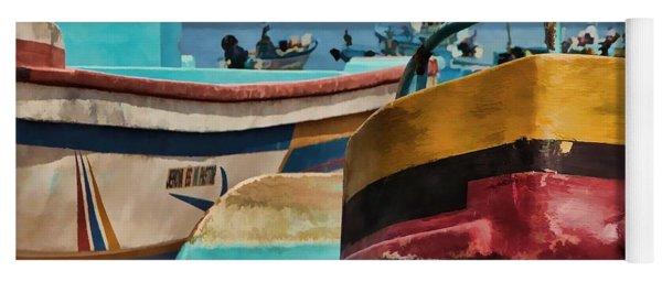 Boats On The Beach - Puerto Lopez - Ecuador Yoga Mat