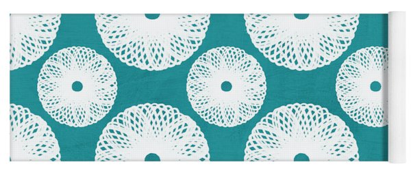 Boho Floral Blue And White Yoga Mat