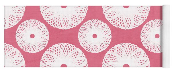Boho Floral Pattern In Pink And White Yoga Mat