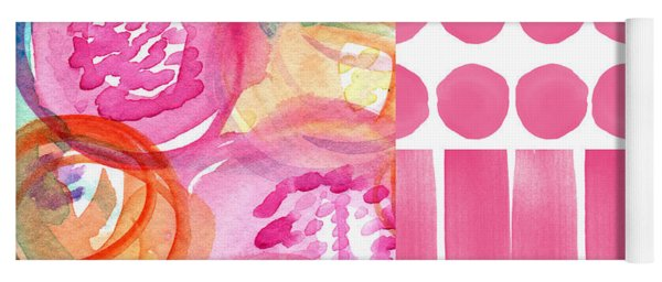 Boho Flower Patchwork- Watercolor Art Yoga Mat