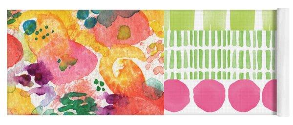 Boho Garden Patchwork- Floral Painting Yoga Mat