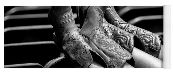 Yoga Mat featuring the photograph Boots Up - Bw by Christopher Holmes