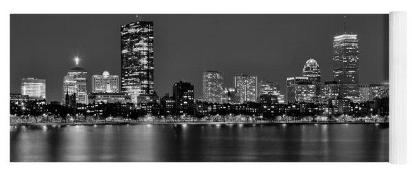 Boston Back Bay Skyline At Night Black And White Bw Panorama Yoga Mat