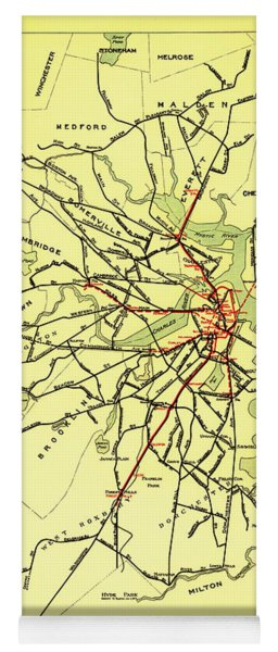 Boston Elevated Railway System Map 1921 Yoga Mat