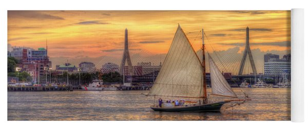 Boston Harbor Sunset Sail Yoga Mat