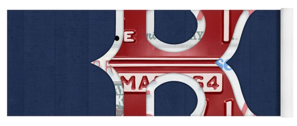 Boston Red Sox Logo Letter B Baseball Team Vintage License Plate Art Yoga Mat