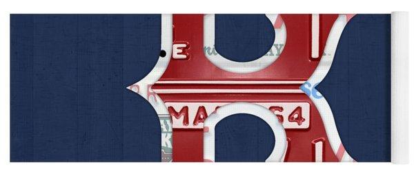 Boston Red Sox Logo Letter B Baseball Team Vintage License Plate Art Yoga Mat