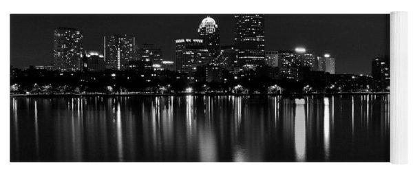 Boston Skyline By Night - Black And White Yoga Mat