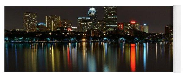 Boston Skyline By Night Yoga Mat
