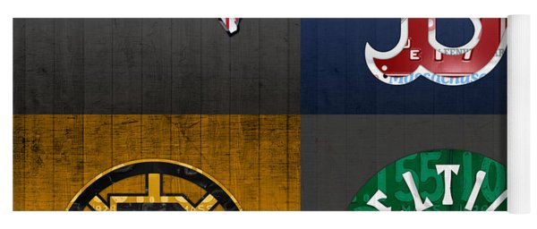 Boston Sports Fan Recycled Vintage Massachusetts License Plate Art Patriots Red Sox Bruins Celtics Yoga Mat