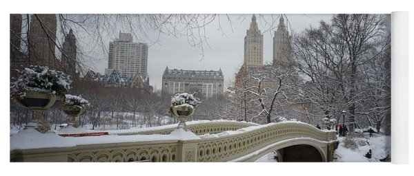 Bow Bridge Central Park In Winter  Yoga Mat