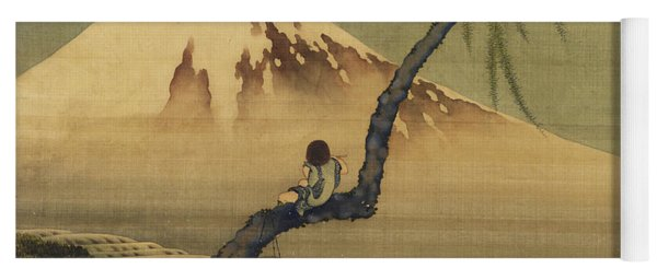 Boy Viewing Mount Fuji Yoga Mat