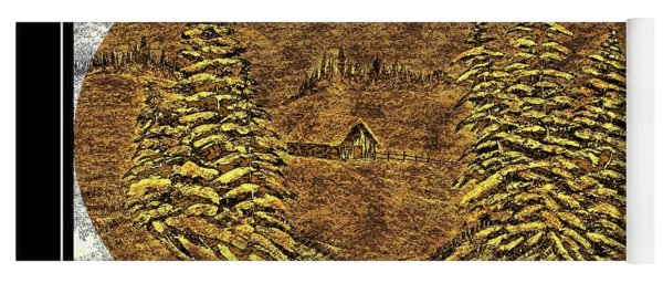Brass-type Etching - Oval - Cabin Between The Trees Yoga Mat