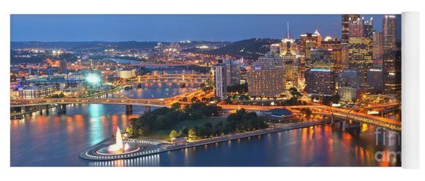 Bridge To The Pittsburgh Skyline Yoga Mat