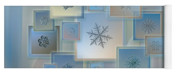 Yoga Mat featuring the photograph Snowflake Collage - Bright Crystals 2012-2014 by Alexey Kljatov