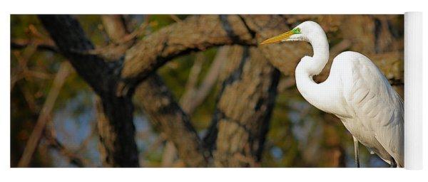 Bright White Heron Yoga Mat