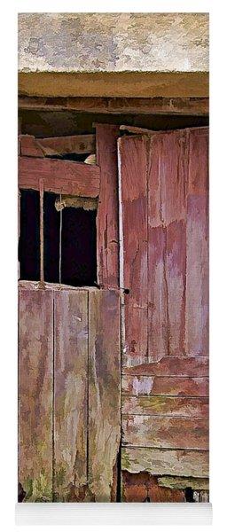 Broken Red Wood Door Yoga Mat