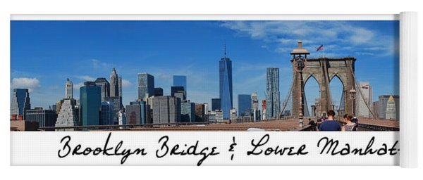 Brooklyn Bridge And Lower Manhattan Script Yoga Mat