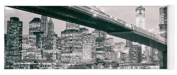Brooklyn Bridge And New York City Skyline At Night Yoga Mat