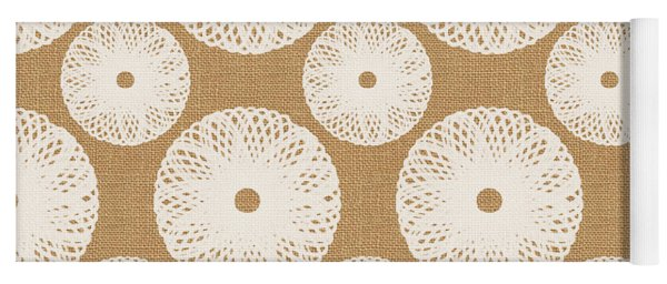 Brown And White Floral Yoga Mat