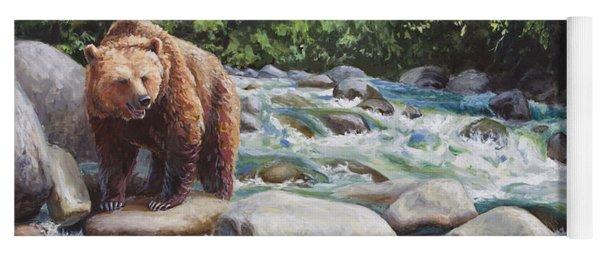 Brown Bear And Salmon On The River - Alaskan Wildlife Landscape Yoga Mat