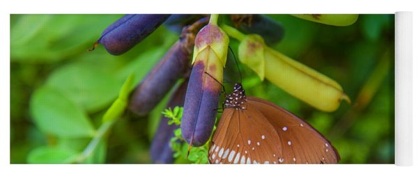Brown Butterfly In The Green Jungle Yoga Mat